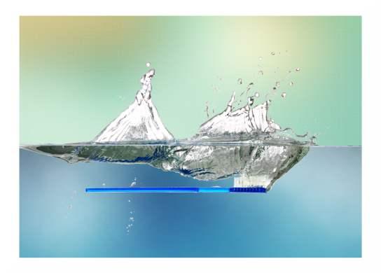 Recallkarte mit blauer Zahnbürste
