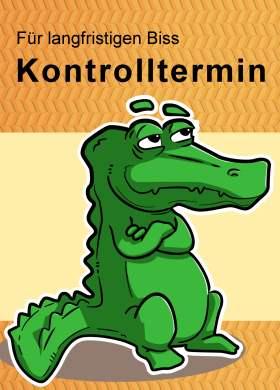 Recallkarte mit Krokodil, das auf den Kontrolltermin hinweist