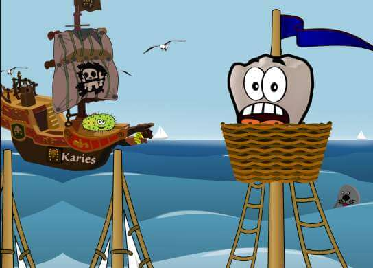 Recallkarte mit Piratenbakterienangriff auf Zahn