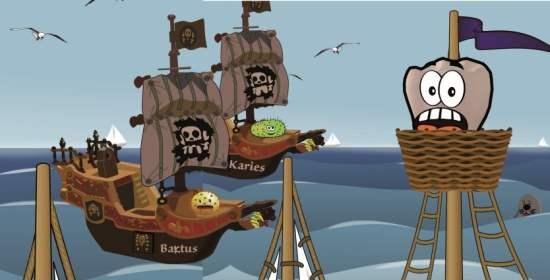 Recallkarte mit Piratenangriff auf Zahn