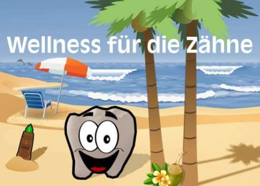 Recallkarte mit Zahn am Strand