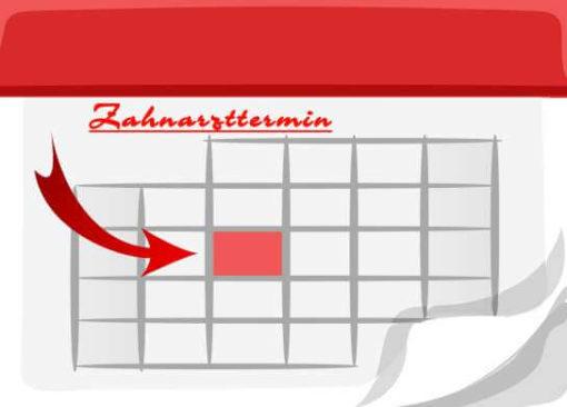 Recallkarte mit Zahnarzttermin im Kalender