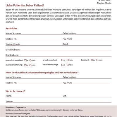 Anamnesebogen Zahnarzt Praxisdesign Works