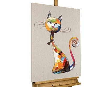 KunstLoft Acryl Gemlde Aristocat 60x80cm original handgemalte Leinwand Bilder XXL Katze Lustig Dekoration Grau Bunt Wandbild Acrylbild moderne Kunst einteilig mit Rahmen 0