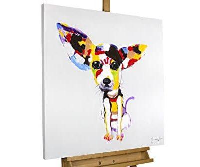 KunstLoft Acryl Gemlde Der Hundeblick 80x80cm original handgemalte Leinwand Bilder XXL Bunter Chihuahua Hund fr Kinder Kinderzimmer Babyzimmer Wandbild Acrylbild moderne Kunst mit Rahmen 0