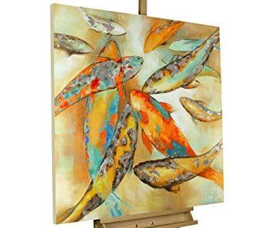 KunstLoft Acryl Gemlde Der Koi 100x100cm original handgemalte Leinwand Bilder XXL Japanische bunte Koi Karpfen Fische auf Beige mit Silberglanz Orange Wandbild Acrylbild moderne Kunst 0