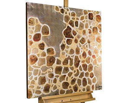 KunstLoft Acryl Gemlde Edle Bernsteine 80x80cm original handgemalte Leinwand Bilder XXL Punkte Braun Wei Wandbild Acryl bild moderne Kunst einteilig mit Rahmen 0