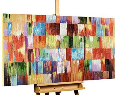 KunstLoft Acryl Gemlde Eine Hommage ans Leben 140x70cm original handgemalte Leinwand Bilder XXL Abstrakt Bunt Kubismus Wandbild Acrylbild moderne Kunst einteilig mit Rahmen 0
