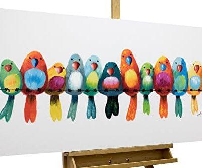 KunstLoft Acryl Gemlde Freunde frs Leben 120x60cm original handgemalte Leinwand Bilder XXL Vgel Heimat Bunt Papagei Wellensittich Wandbild Acrylbild moderne Kunst einteilig mit Rahmen 0
