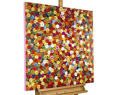 KunstLoft Acryl Gemlde Frhlingsknospen 80x80cm original handgemalte Leinwand Bilder XXL Abstrakte rote lila bunte Punkte Wandbild Acrylbild moderne Kunst einteilig mit Rahmen 0