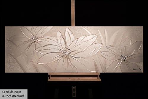 Kunstloft acryl gem lde 39 frozen flowers 39 150x50cm original handgemalte leinwand bilder xxl - Handgemalte bilder auf leinwand abstrakt ...