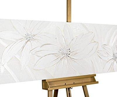 KunstLoft Acryl Gemlde Frozen Flowers 150x50cm original handgemalte Leinwand Bilder XXL Abstrakt Muster Wei Blumen Wandbild Acryl bild moderne Kunst einteilig mit Rahmen 0