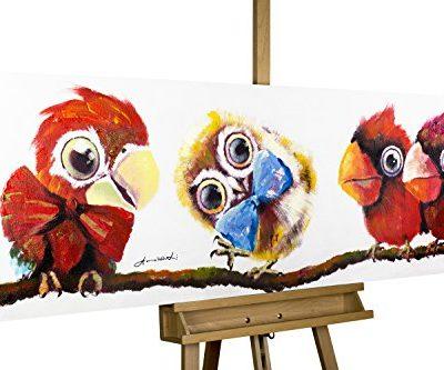 KunstLoft Acryl Gemlde Im Mittelpunkt 150x50cm handgemalte Leinwand Bilder XXL Tiere Vgel Eule Rote Papageien auf Ast fr Kinderzimmer Babyzimmer Wandbild Acrylbild moderne Kunst einteilig 0