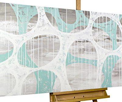 KunstLoft Acryl Gemlde In einer anderen Sphre 140x70cm original handgemalte Leinwand Bilder XXL Abstrakte Formen in Grau Wei Trkis Wandbild Acrylbild moderne Kunst einteilig mit Rahmen 0