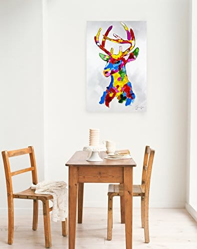 kunstloft acryl gem lde 39 kunterbunter platzhirsch 39 60x90cm original handgemalte leinwand. Black Bedroom Furniture Sets. Home Design Ideas