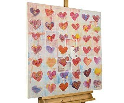 KunstLoft Acryl Gemlde Portrait dAmour 80x80cm original handgemalte Leinwand Bilder XXL Herzen Deko Liebe Bunt Wandbild Acrylbild moderne Kunst einteilig mit Rahmen 0