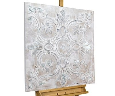 KunstLoft Acryl Gemlde Prunkvoll 80x80cm original handgemalte Leinwand Bilder XXL Abstrakt Muster Ornament Grau Wandbild Acryl bild moderne Kunst einteilig mit Rahmen 0