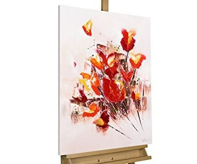 KunstLoft Acryl Gemlde Temper is a Weapon 60x80cm original handgemalte Leinwand Bilder XXL rot Blume Frhling Deko Wandbild Acrylbild moderne Kunst einteilig mit Rahmen 0