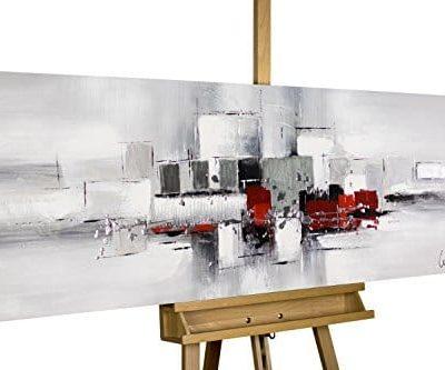 KunstLoft Acryl Gemlde Umringt von Nebel 150x50cm original handgemalte Leinwand Bilder XXL Abstrakt Rot Wei Grau Wandbild Acryl bild moderne Kunst einteilig mit Rahmen 0