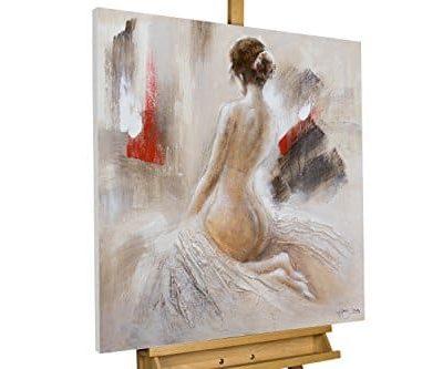 KunstLoft Acryl Gemlde Verfhrungsknste 80x80cm original handgemalte Leinwand Bilder XXL Frau Romantisch Grau Wandbild Acryl bild moderne Kunst einteilig mit Rahmen 0