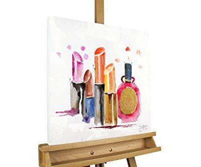 KunstLoft Acryl Gemlde Vor dem groen Auftritt 50x50cm original handgemalte Leinwand Bilder XXL Pinke Lippenstifte Parfum auf Wei Wandbild Acrylbild moderne Kunst einteilig mit Rahmen 0
