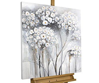 KunstLoft Acryl Gemlde Weie Unschuld 80x80cm original handgemalte Leinwand Bilder XXL Weie Blumen auf Grau gemalt Natur Landschaft Wandbild Acrylbild moderne Kunst einteilig mit Rahmen 0
