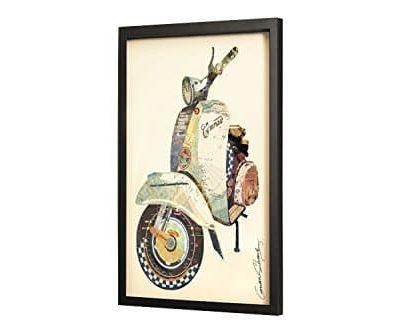 Trendiges KunstLoft Bild Frame Art 3D Weltenbummler 61x81cm Handgefertigte Vintage Wanddeko aus Papier Vespa Roller Blau 3D Deko Wandbild Collage Art moderne Kunst Retro im Bilderrahmen 0