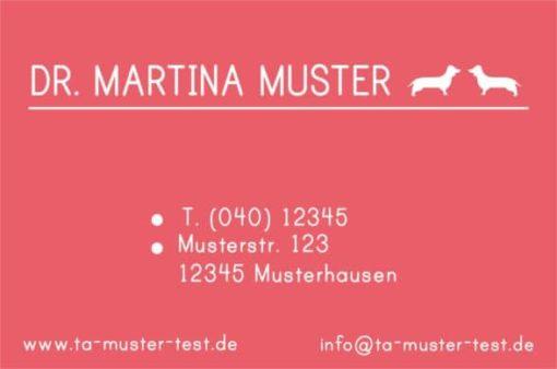 Rote Rückseite der Visitenkarte für Tierärzte