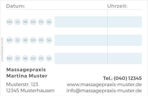 terminkarten massage querformat blau 1