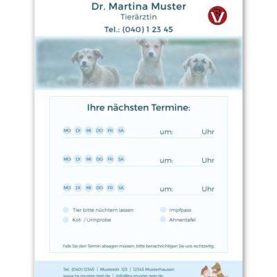terminzettel tierarzt himmelblau textindividuell 2
