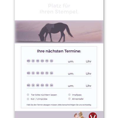 terminzettel tierarzt violett pferd standard