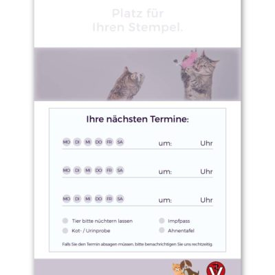 terminzettel tierarzt violett standard