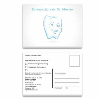 recallkarte zahn weiß individualisiert