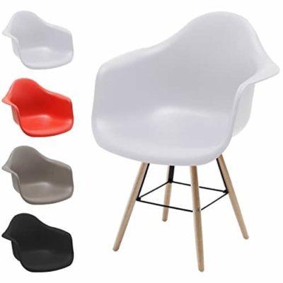 Stuhl mit armlehne gepolstert great clp design edelstahl for Plastik schalenstuhl