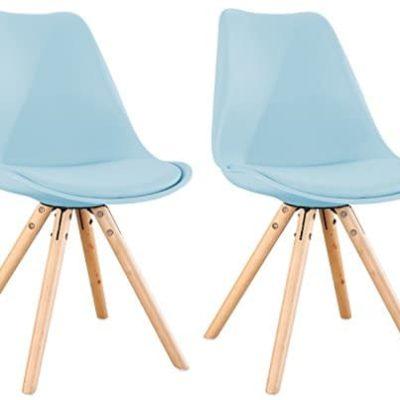OYE HOYE Retro Designer Stuhl Esszimmersthle Wohnzimmersthl mit bequem Gepolstertem Sitz aus Hochwertigem Strapazierfhigem Kunststoff und Buchenholz 0