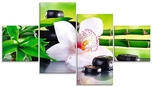 Artland Africa Studio Spa Steine Bambus Zweige und weisse Orchidee auf dem Tisch auf natuerlichem Hintergrund Glasbild 0 2