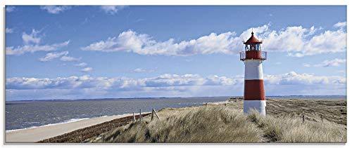 Artland Glasbilder Wandbild Glas Bild einteilig 125x50 cm Querformat Strand Meer Nordsee Leuchtturm Sylt Duenen Graeser Wolken Sommer Urlaub T9ML 0 0