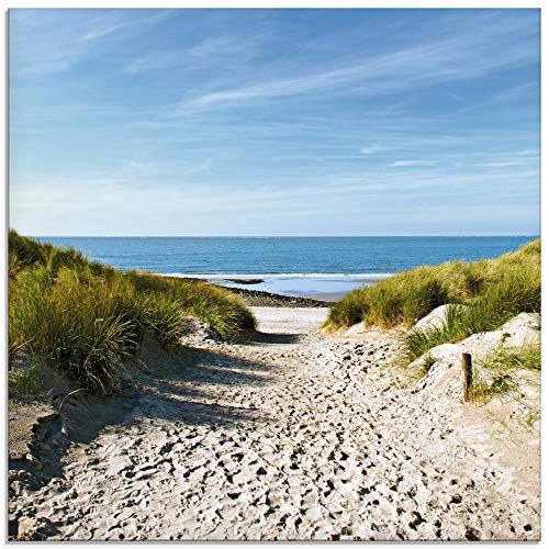 Artland Ivonnewierink Strand mit Sandduenen und einem Weg zur See Glasbild 0 2