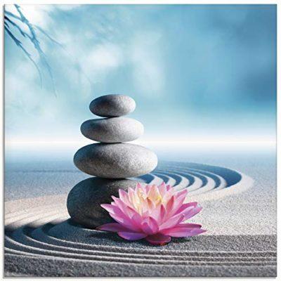 Artland Romolo Tavani Sand Lilie und Spa Steine in Zen Garten Glasbild 0 5