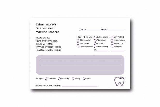 Kurzmitteilung violett im paket